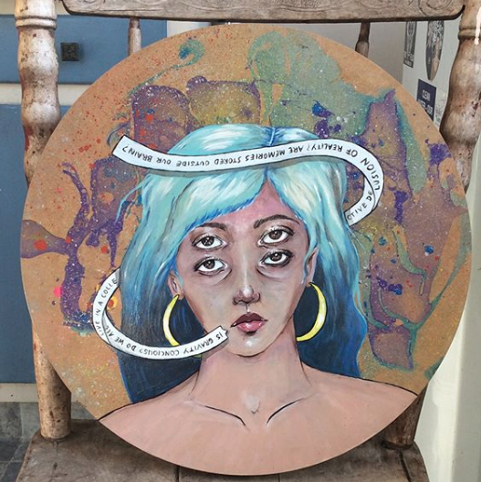 Thoughts, acrylic, aerosol and nail polish on wood, 2018