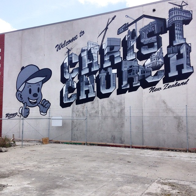 Dcypher's Welcome to Christchurch wall, for Oi YOU!'s Spectrum festival, Welles Street, 2015 (photo credit: Dcypher)