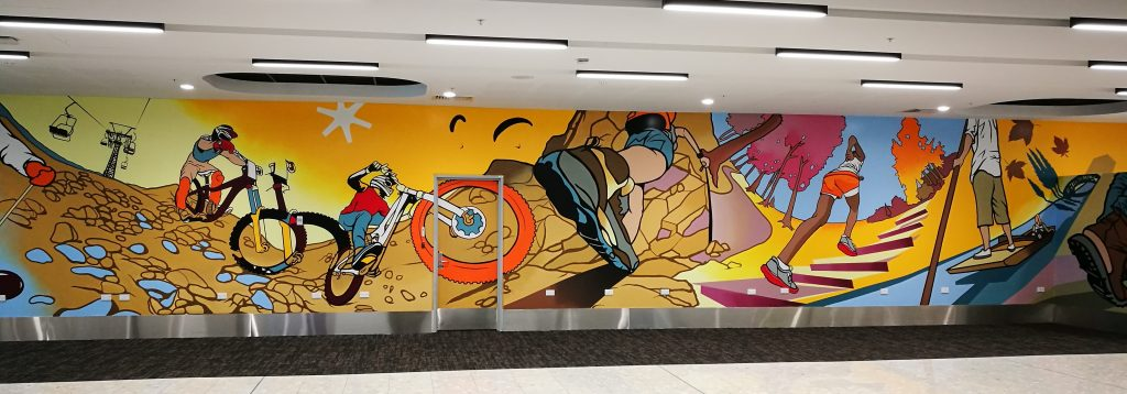 A section of Dcypher's mural at the Christchurch Airport, 2018