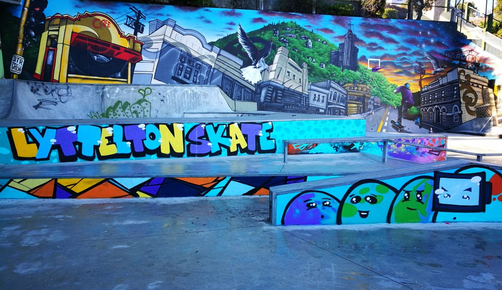 Section of the DTR crew (Dcypher, Ikarus, Yikes, Wongi) collaboration for the Lyttelton Skate Park, 2018.