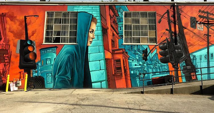 Mural for 88 Monks in Echo Park, Los Angeles, 2016 (Photo credit: Dcypher)