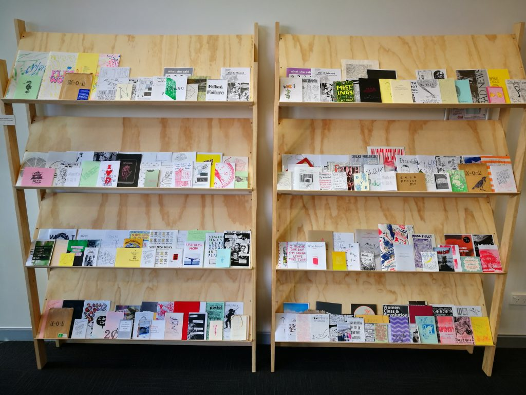 The Zine Library on display at Fiksate Gallery, 165 Gloucester Street