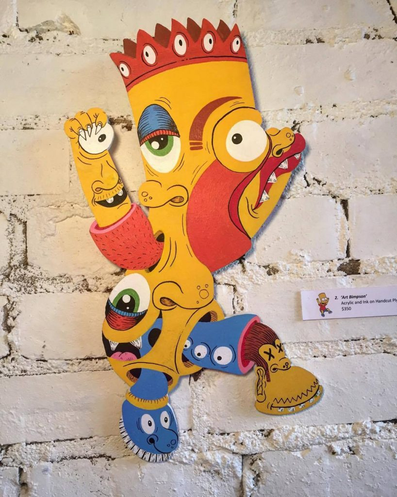 Art Bimpson/Bart Simpson, from Neo Nostalgia, mixed media on plywood cut-out, 2016