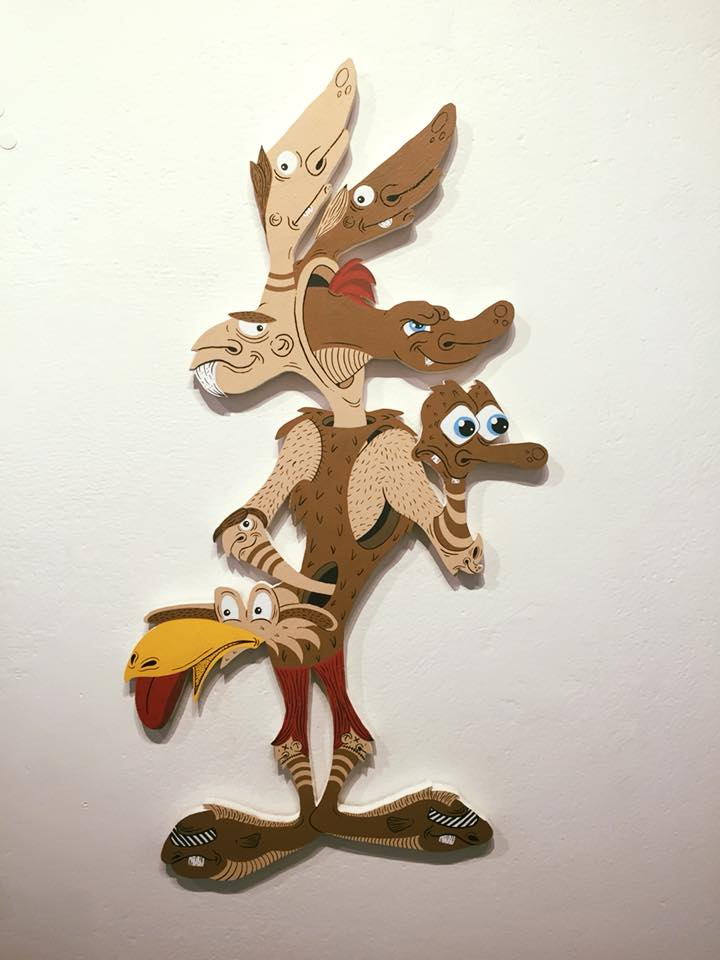 Wile E. Coyote, from Dizney Dreamz, mixed media on plywood cut-out, 2018