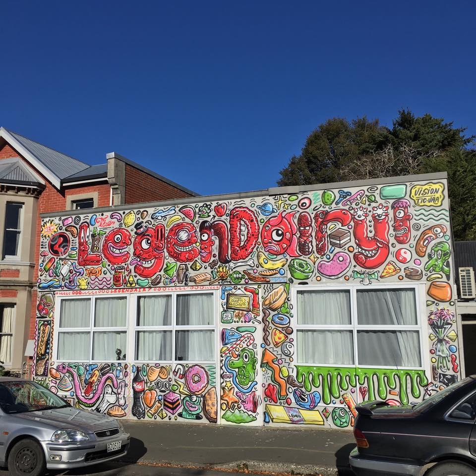 Mural on the 'LegenDairy', Dunedin, 2016