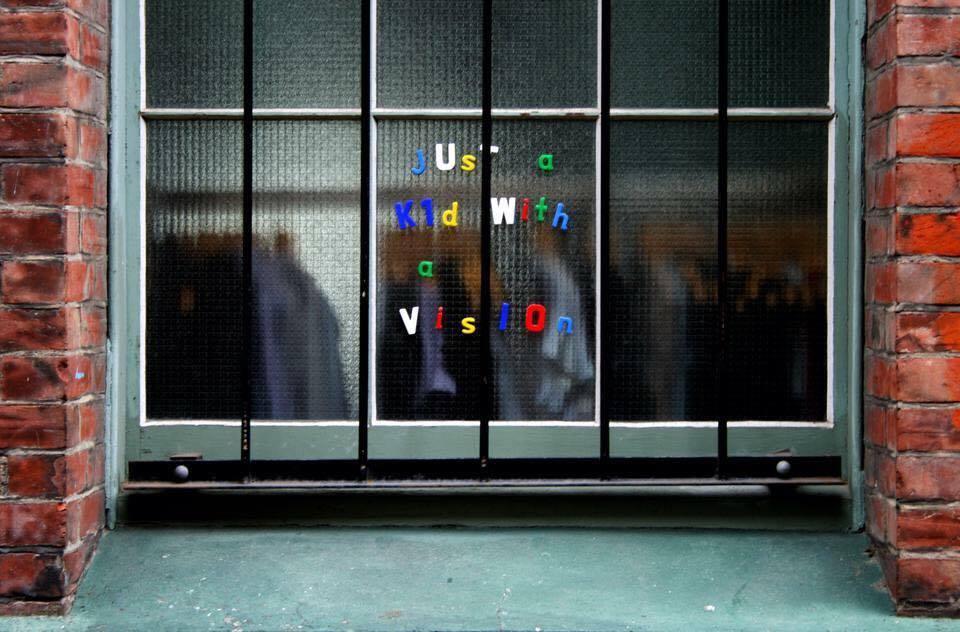 Just a Kid with a Vision, fridge magnet installation, Poplar Lane, Christchurch, 2010