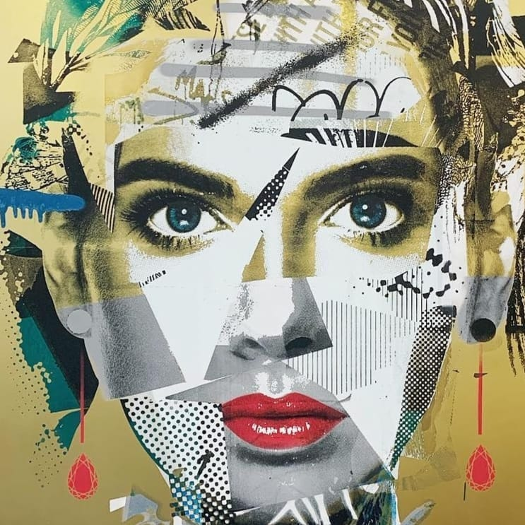Joel Hart, Hush, mixed media on brass panel, 2019