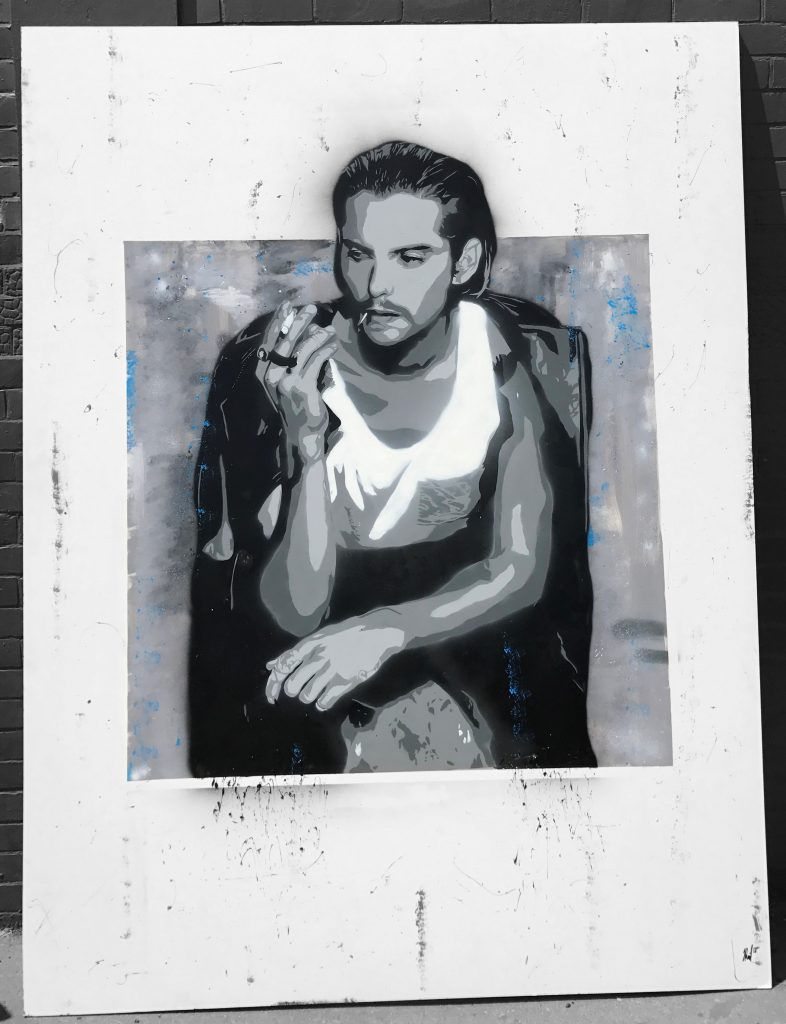 Kit Harrington, aerosol and mixed media, 2019