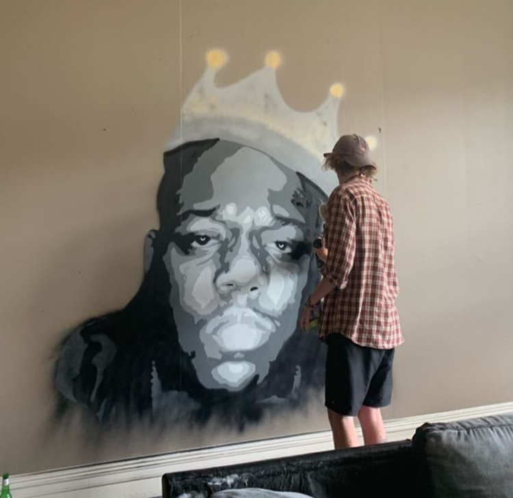 Jacob Root painting Biggie Smalls at a private residence, 2018