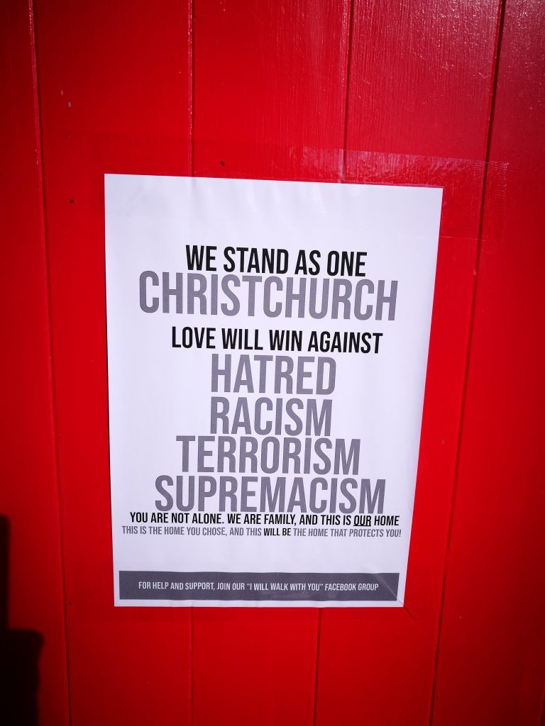 We Stand As One poster, central city, Christchurch