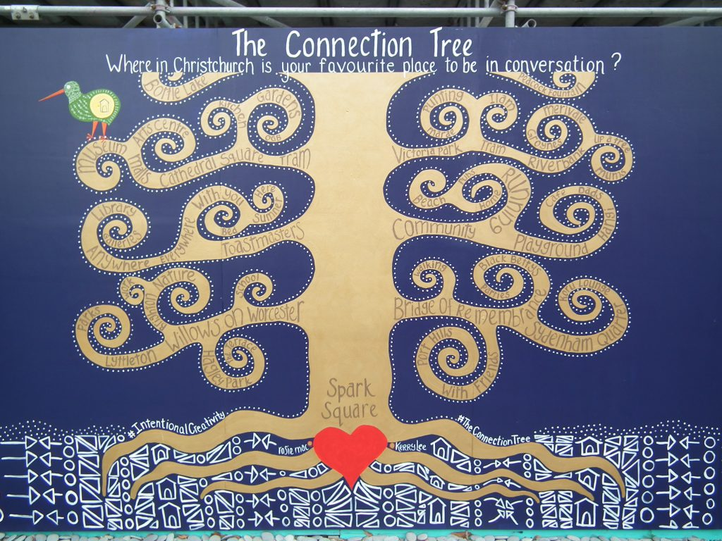 The Connection Tree, The Grove of Intention, Rosie Mac and Kerry Lee with the people of Christchurch,Hereford Street, 2019