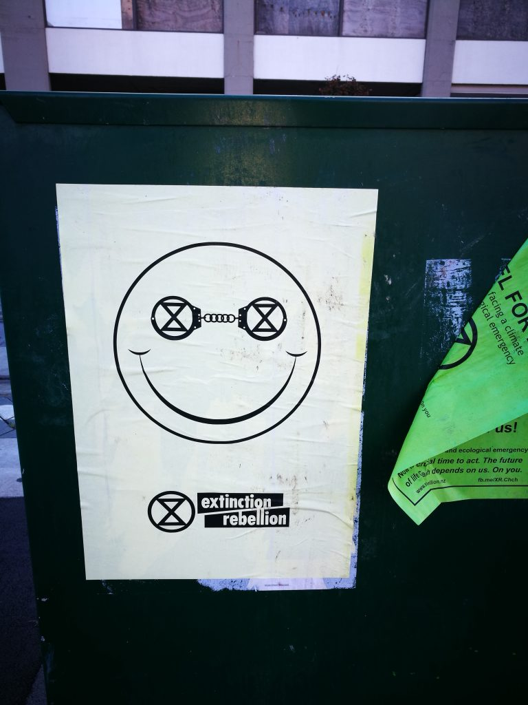 Extinction Rebellion poster, central Christchurch, 2019