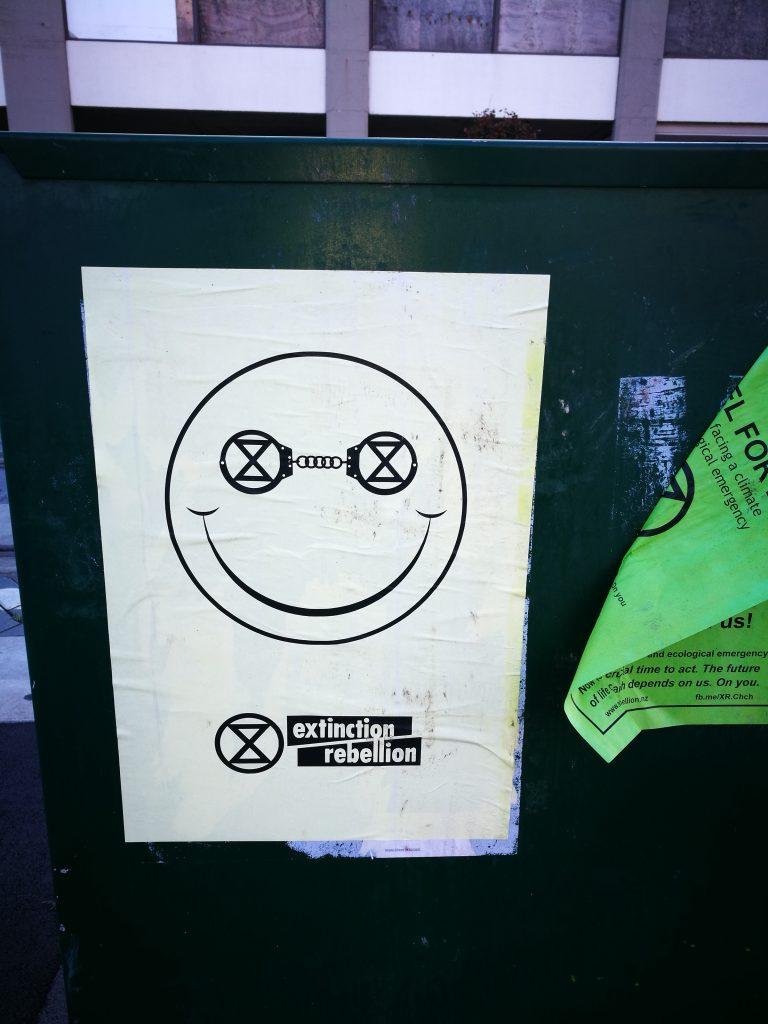 Extinction Rebellion poster, central Christchurch, 2019