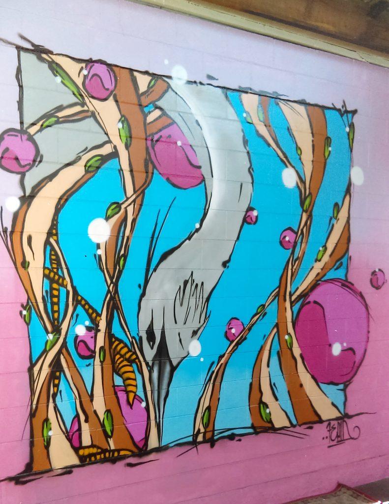 """""""Heron"""" mural, Christchurch, 2018"""