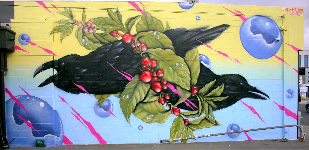 Mural for Underground Coffee, Durham Street, Christchurch, 2019