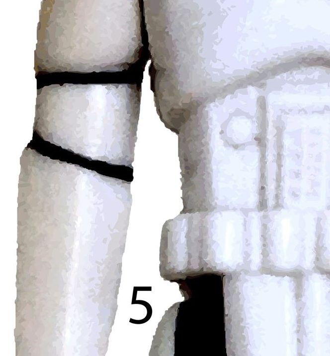 The right side torso of a Star Wars Stormtrooper