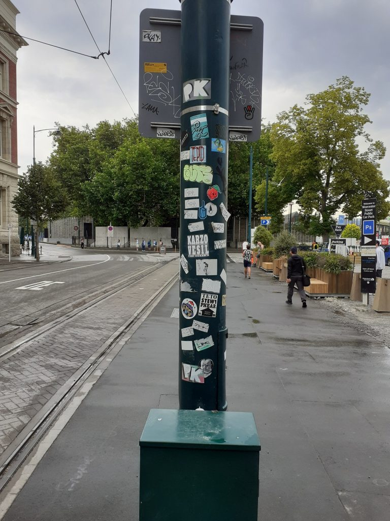 A collection of stickers in Christchurch