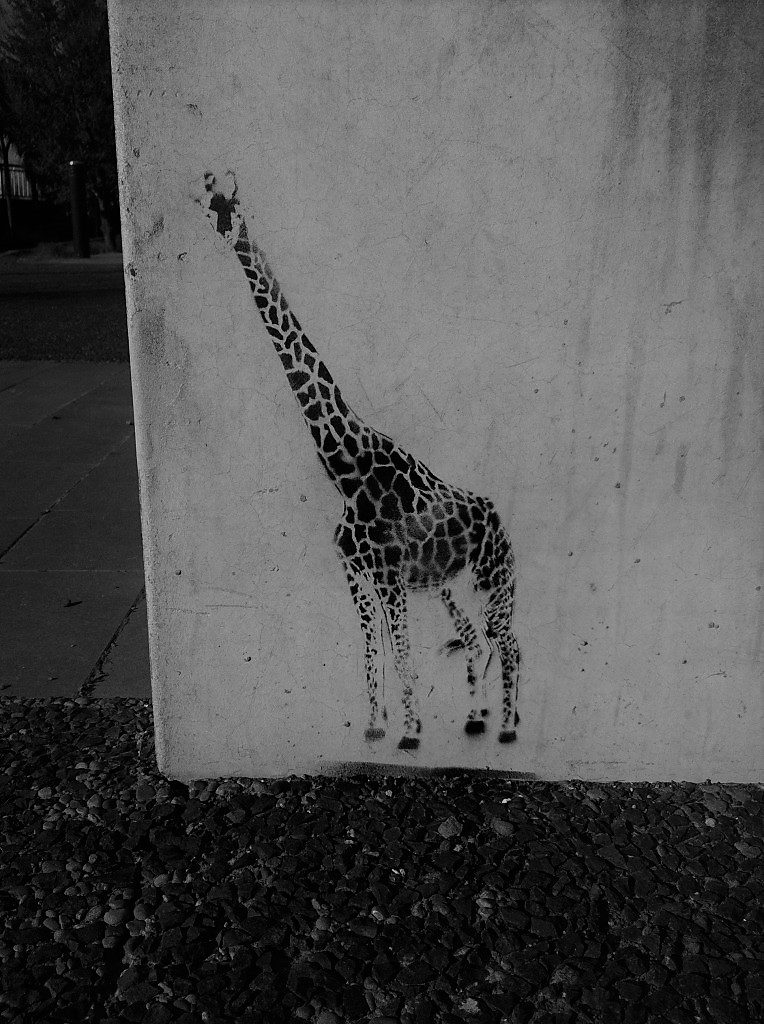 A stencil of a small giraffe on a concrete wall
