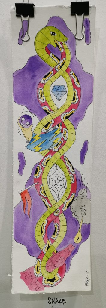 A watercolour painting on paper of a snake wrapped around itself with tattoo styled elements and bright colours