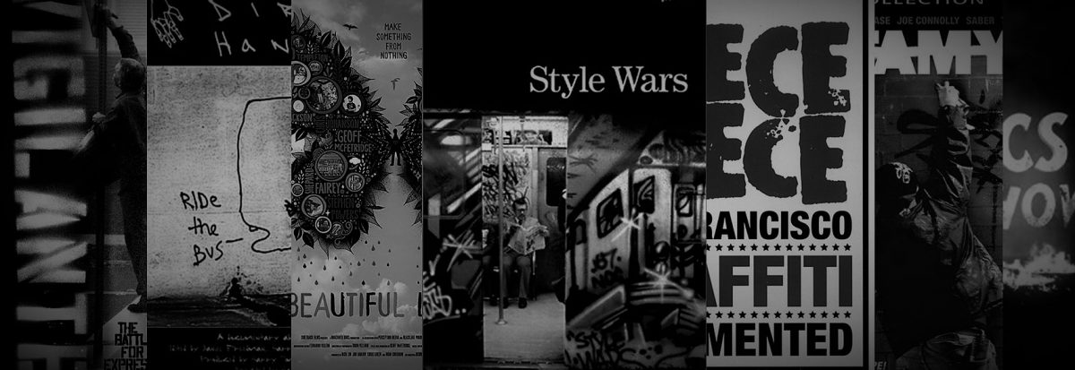 A row of film posters