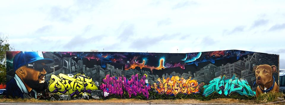 The massive DTR JUngle tribute, featuring pieces Jungle and Autism pieces, a portrait of Jungle by Wongi and Jungles dog by Dcypher, 2020.