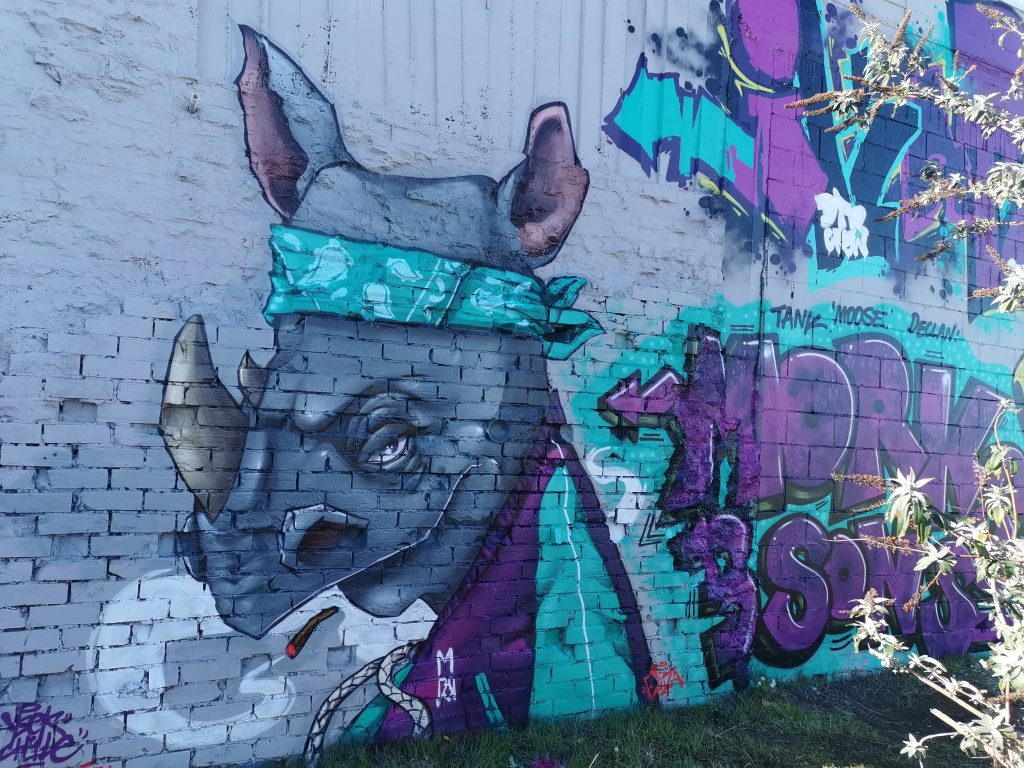 YSEK's rhino character from the New Brighton Outdoor Art Festival traditional graffiti wall.