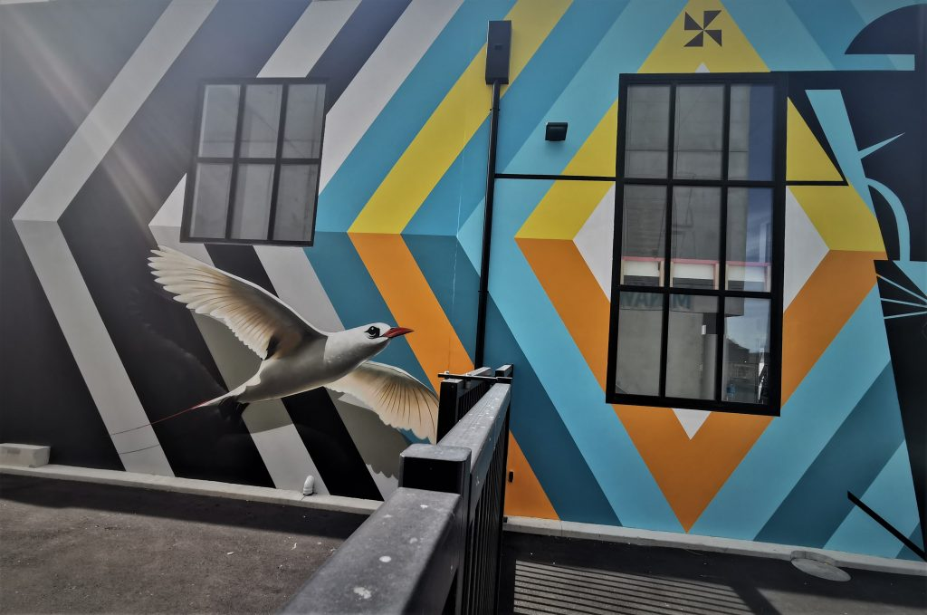 The collaboration between Work and TMD crew mate Charles Williams on the Etu Pasifika Health Centre, 2021. The mural features diamonds of blues oranges and yellow, with a realistic tropicbird fllying upwards from the left. On the right, a massive stylised Tongan Chief figure .stands rigidly
