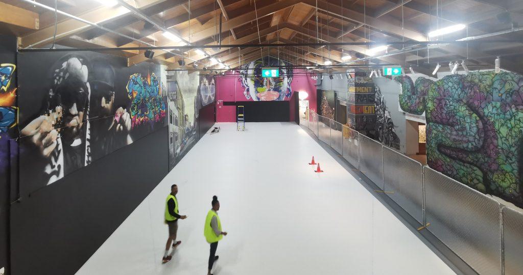 The floor space inside the Canterbury Museum as the artist prepares to install Motutapu II.