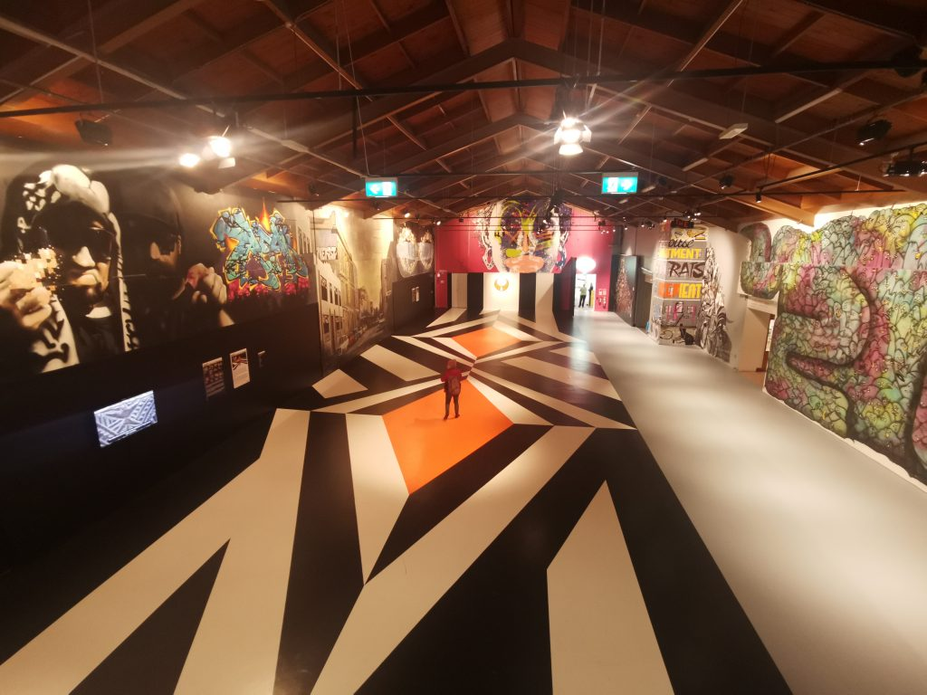 The finished Motutapu II, surrounded by the revealed Rise paintings in the Museums main exhibition hall.
