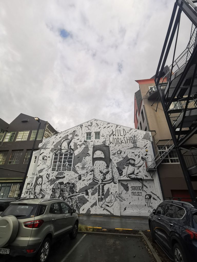 Cracked Ink mural for Garage Project in Wellington, 2020